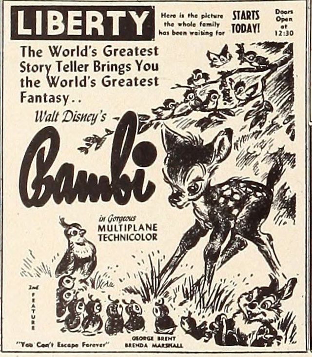 "Bambi opens at the Liberty. ""Showmen's Trade Review,"" January 2, 1943."