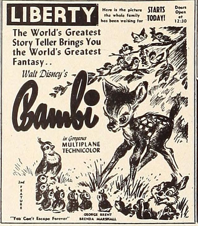 "Bambi opens at the Liberty. ""Showmen's Trade Review,"" January 2, 1943."