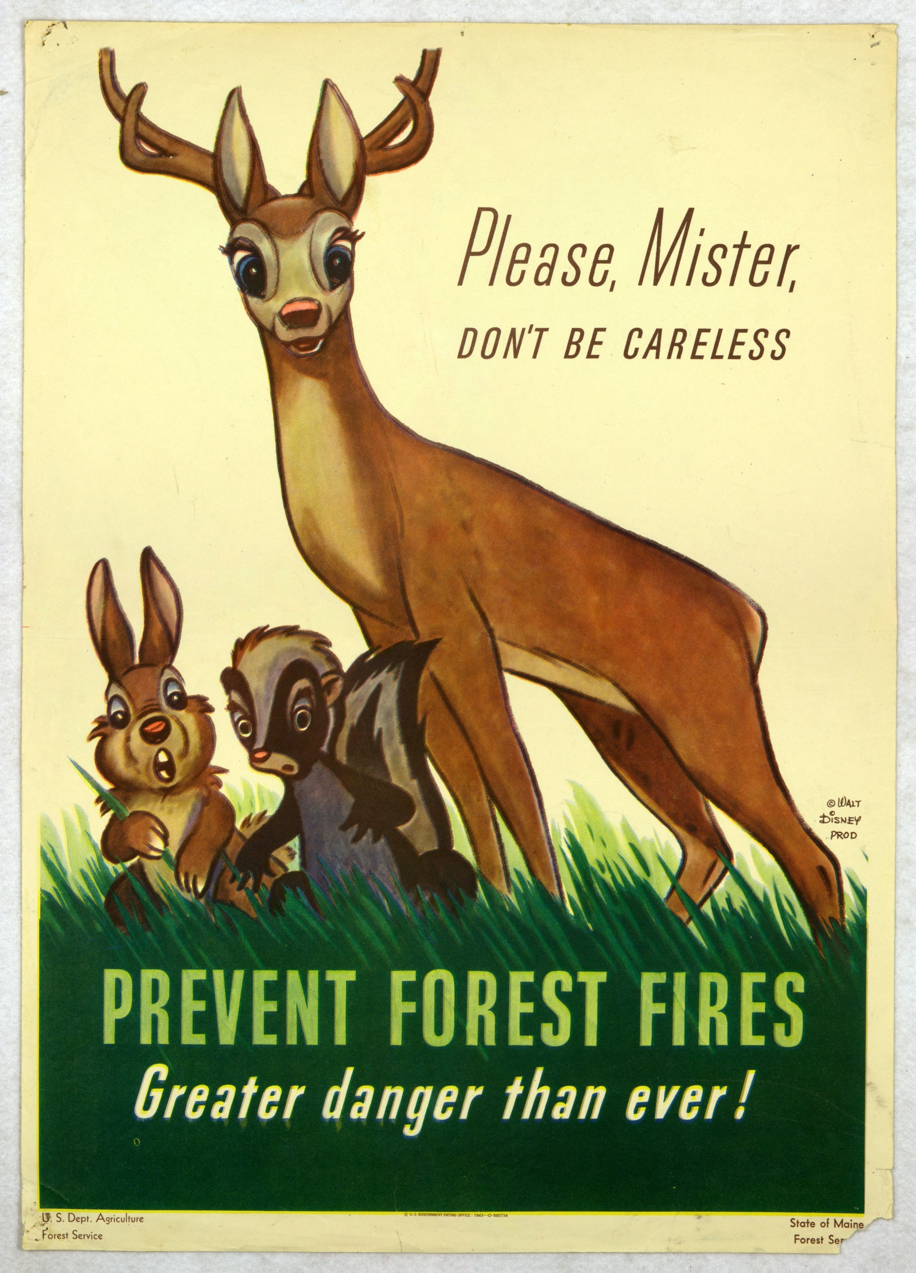 In 1943, Disney allowed the government use of his characters for a fire prevention campaign. After a year, it was their responsibility to come up with a new mascot. That's how Smokey the Bear was born.