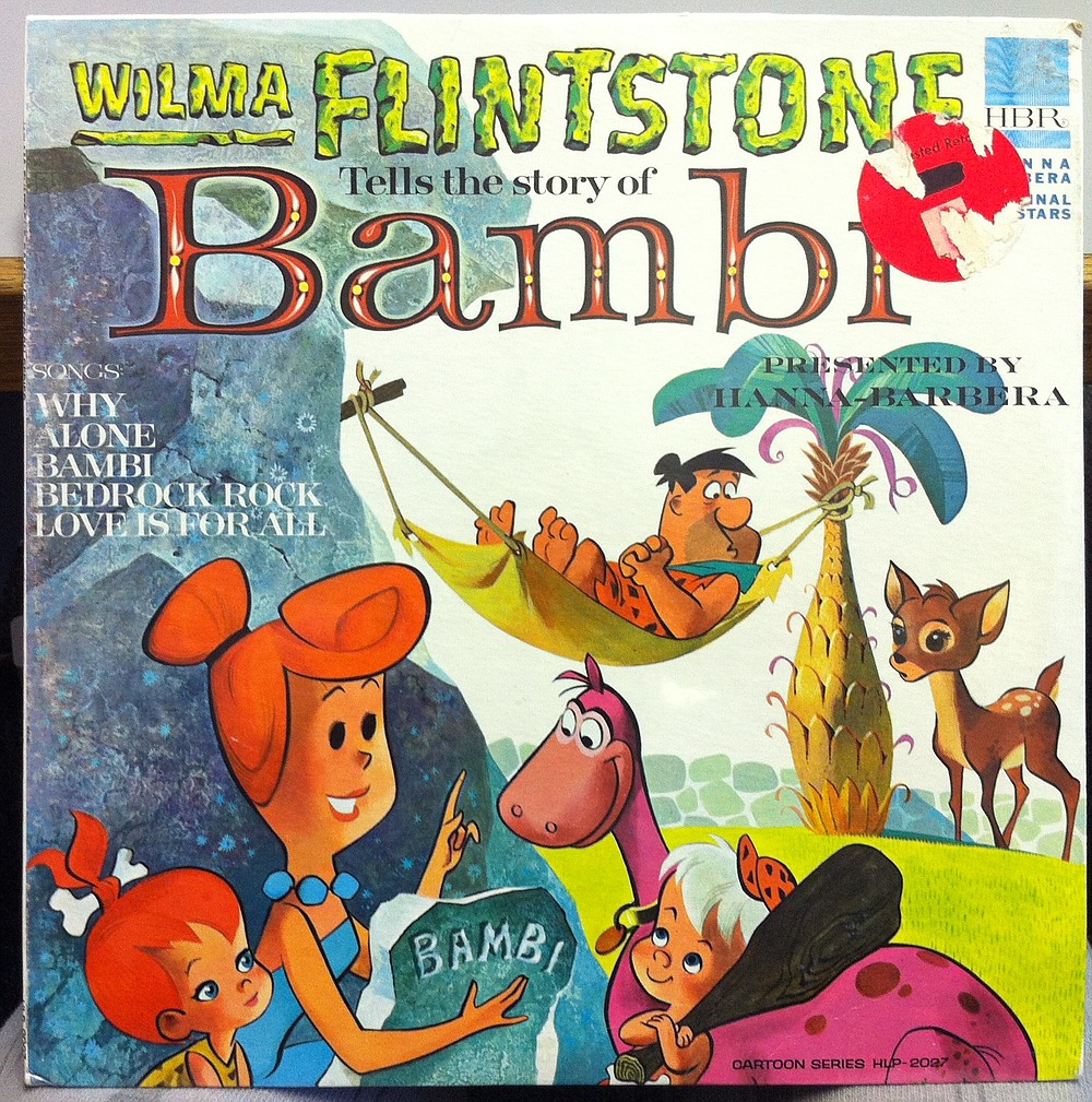 The way Wilma tells it, Bambi's mother was felled by a caveman brandishing a slingshot. Hanna-Barbera Records, 1965.