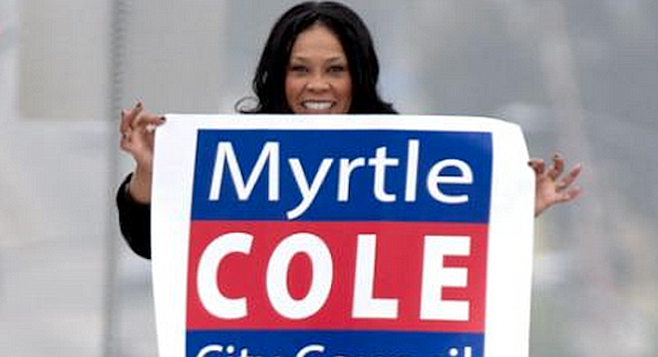 Myrtle Cole's legal defense fund against the 2015 Crenshaw libel suit attracted big money from Mission Valley  leading up to her vote to expedite a new Mission Valley Chargers stadium.