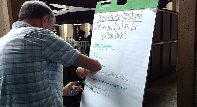 Several scribbled notes on an easel in opposition to the plan to build a bridge bypassing the Plaza de Panama.