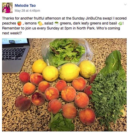 Melodie's posting on Backyard Food Exchange page