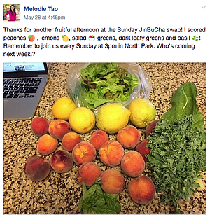 Melodie's posting on Backyard Food Exchange page