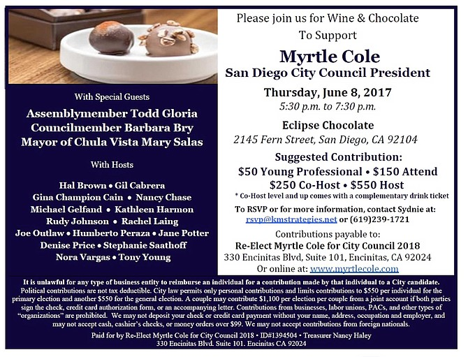 Cole fundraiser at Eclipse Chocolate