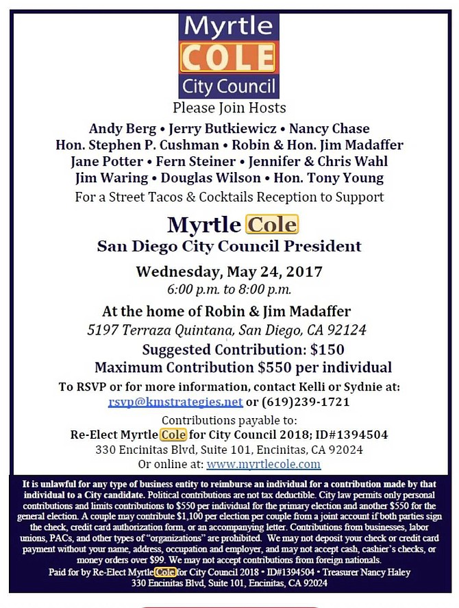 Cole fundraiser at the Madaffer home