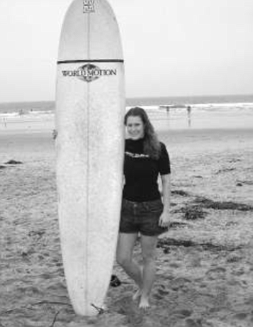 Erin Bala, La Jolla Shores. I got a second-hand longboard. It is eight feet, six inches long.