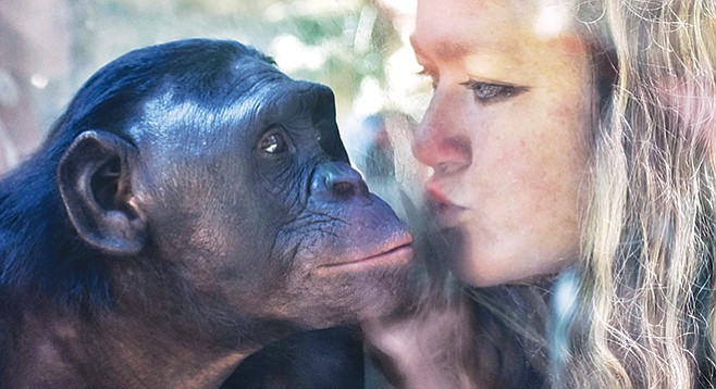 "Liz Sauer and Kalli. ""When the regulars find out you are passionate about bonobos, they're, like, 'Oh, welcome! We get you!'"" - Image by Shelley Weiss"