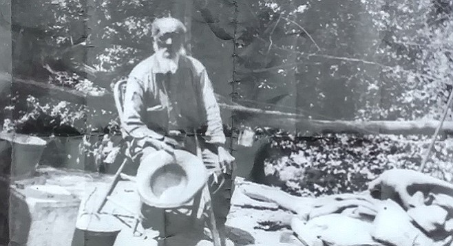 Nate Harrison frequently entertained visitors to his mountain cabin.
