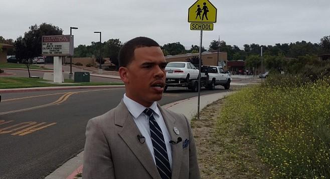 Shane Harris outside Black Mountain Middle School on June 7, 2017