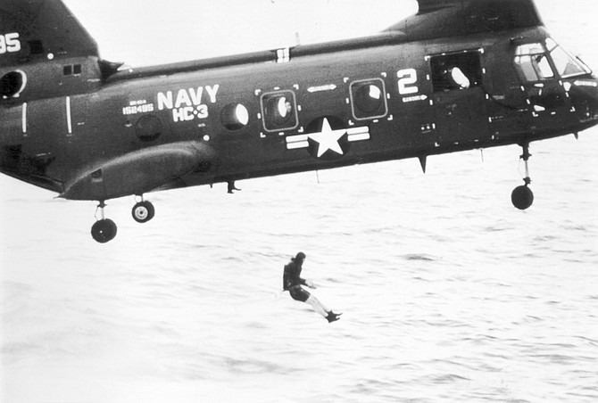 Helo-casting from a CH-46 Sea Knight. The SEALs were already on board when the helo went into the ocean.