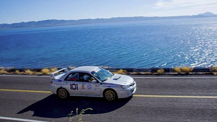 "Bailey launched his Subaru Impreza from Ensenada. ""It'll do about 160 mph right now."""