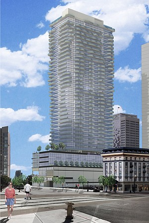 800 Broadway. 40-story, mixed-use development with 384 dwelling units, approximately 21,000 square feet of retail space, and 358 parking spaces.