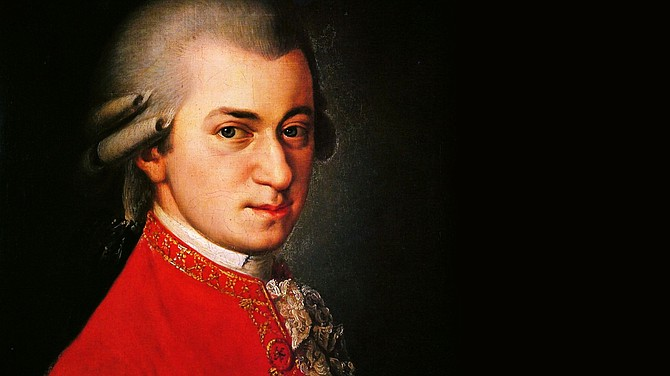 Mainly Mozart's orchestral finale featured giggling Mozart and scowling Mozart.