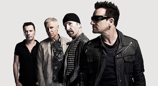 U2 plays Qualcomm Stadium on September 22. The Edge always has that head thing.