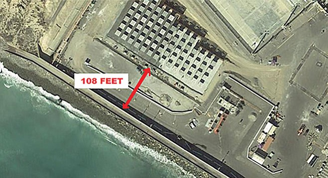 The radioactive material would be 108 feet from the ocean now, but rising oceans will put it under water eventually.