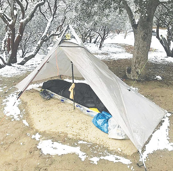 Rozands's trail tent — photographed near Idyllwild — makes use of his trekking poles instead of internal frame poles, which saves on weight.