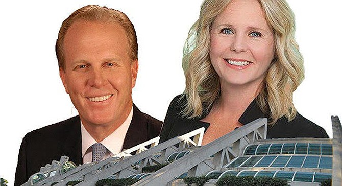 Faulconer and Faucett. Unmentioned is Faucett's prior employment as a lobbyist for waste hauler Republic Services and her role as a key member of the mayor's ill-fated 2015 Chargers stadium task force.