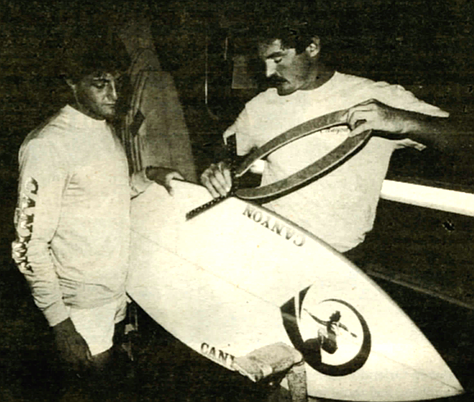 Sean Tomson and Rusty, 1983. By 1981 Tomson, from South Africa, had been the top surfer in the world for about four years.