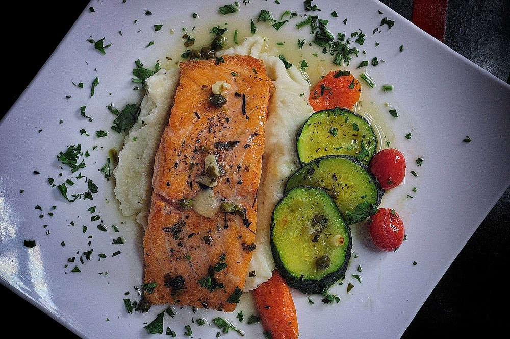 Grilled salmon fillet is one of nine main dish options for the lunch special