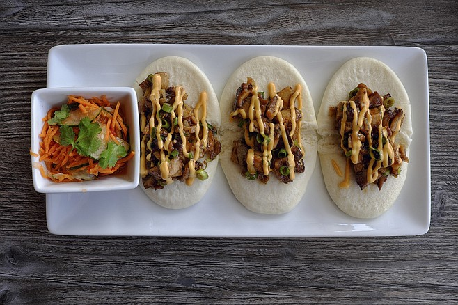 BLVD's sweet spot: Bao Bun Tacos with tender Cha-siu pork served with pickled veggies. Amazing!