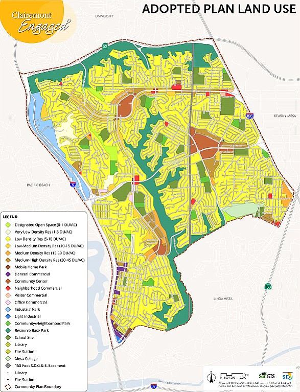 Clairemont is rich in low-density single-family housing (yellow).