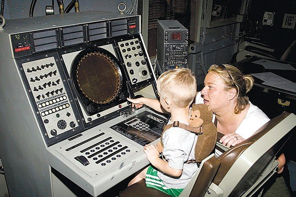 Radar tech in training aboard the USS Midway