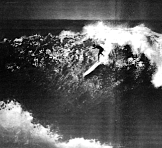 """Doyle at Waimea Bay. """"A guy could get killed in surf like that. It was scary over there."""""""
