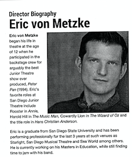 Von Metzke bio from Junior Theater website (now deleted)