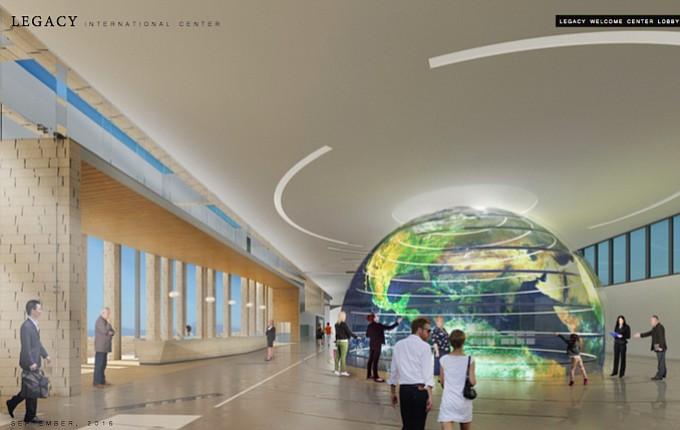 A 30 x 22 foot digital interactive globe will greet visitors.