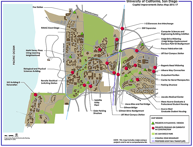 "UCSD Capital Improvements Map. ""The coastal commission gave them the green light to exceed the coastal zone height limits of 30 feet. They came back with four or five 10-story buildings."" (Click to enlarge.)"