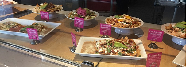 Nearly a dozen different options for chilaquiles