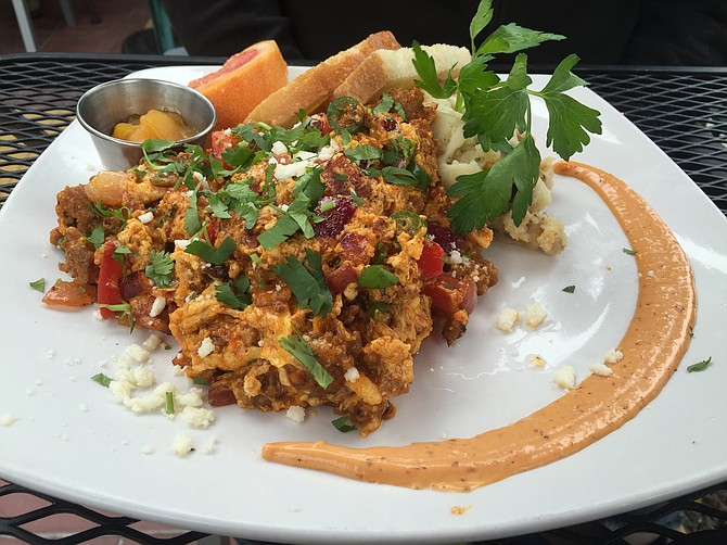 The Tres Egg Scramble with soy chorizo (the vaunted mashed potatoes are hiding in the back)
