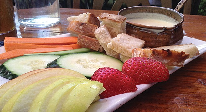 Happy-hour fondue. Best of all: the strawberries