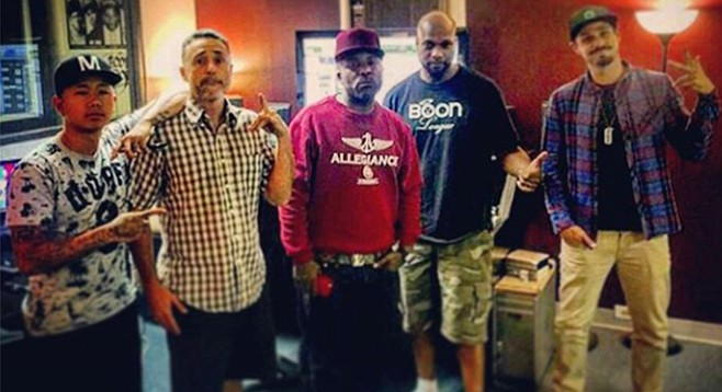 At Jay Way Production in La Mesa: Heartbreaka, Burkey of Vokab Kompany, Mitchy Slick, Jay Wat, and Robbie of Vokab