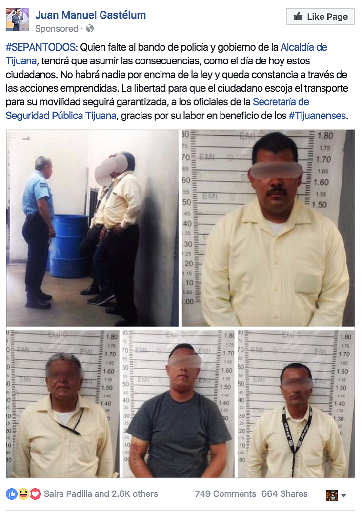"Tijuana mayor cracks down and posts on Facebook: ""No one is above the law."""