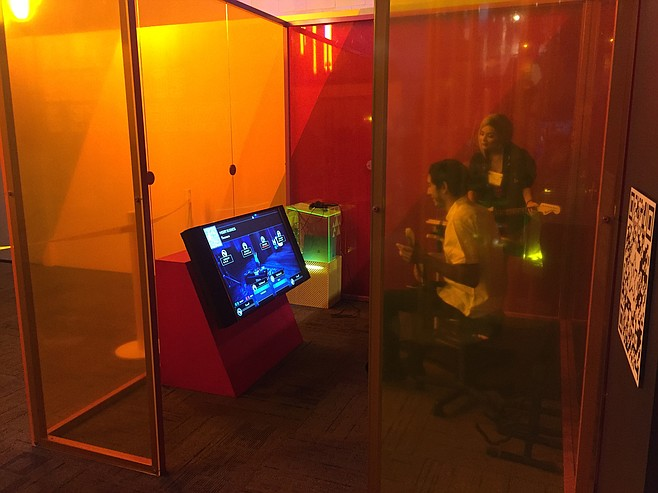 Some games involving karaoke or instrument playing are housed in their own sound booths