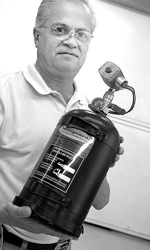 Luis Cano Salazar with pepper spray