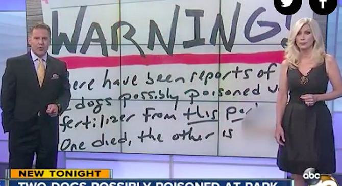 Channel 10 news featured the homemade signs.