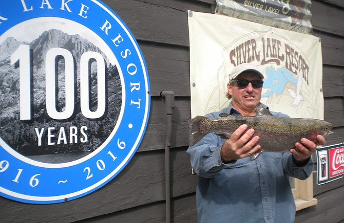 Kevin Walters of Oceanside landed this nice 5 pound 15 ounce Rainbow caught on the shore of Silver Lake using Berkley Trout Nuggets