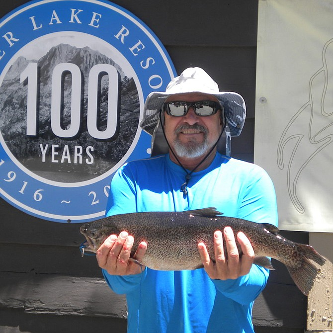Olen Licey of Bonita had the biggest catch at Silver Lake this week when he brought in this nice 5 pound 11 ounce Rainbow caught fishing from his Kayak on Silver Lake. Olen was using Berkley Garlic Pinch Crawlers when he hooked up with this Rainbow that gave him a good pull around the lake. Great Catch Olen!!!