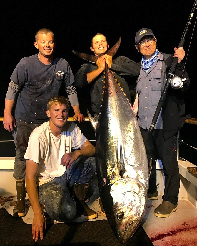 """224-pound bluefin caught from the New Lo-An. Capt. Andy Williams:""""The fight took all hands on deck and 4 gaffs to bring it over the rail."""""""