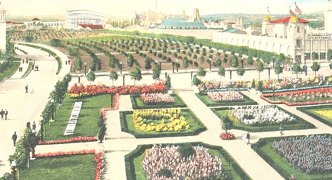 During the 1915 exposition, the county's exhibition building was where the museum is now. Nearby the newly planted Moreton Bay Fig was a citrus orchard and a formal garden featuring thousands of plants to show that anything can grow in Southern California.
