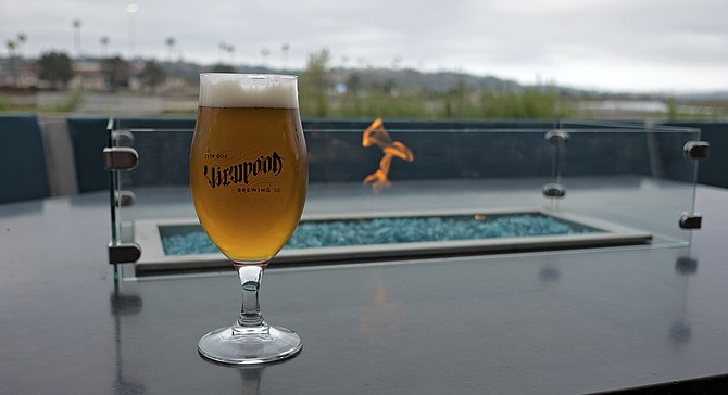 Beers with a view of the Del Mar fairgrounds and racetrack.