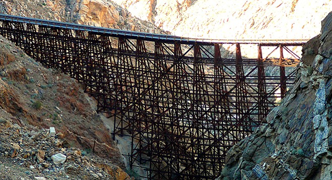 The trestle is perhaps the longest curved one, at 14 degrees of curvature.