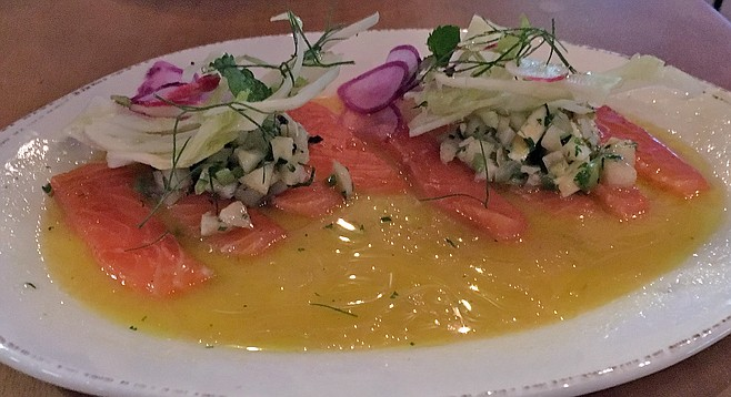 All that citrusy juice can't save the salmon aguachile