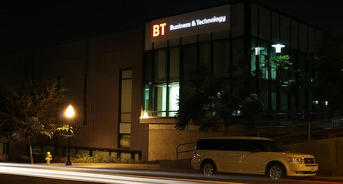 LED lights are used to illuminate signs large enough so students, faculty and visitors can see them from afar.