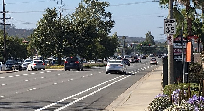 Northbound El Camino Real — once inside the city of Carlsbad, the posted speed along the same width of roadway jumps to 50 m.p.h..