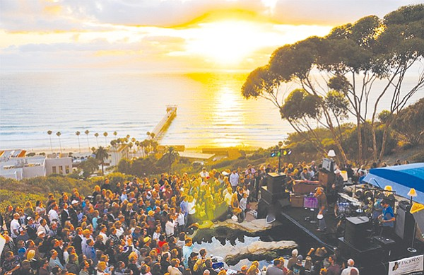 Green Flash Concert Series at Birch Aquarium — they build the stage over the tidepool area