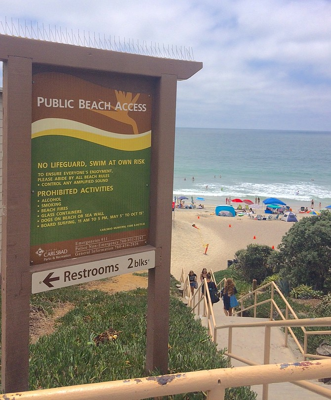 Man using metal detector said he gets to beach by public access stairs.